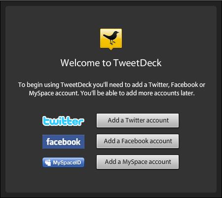 Añadir una cuenta a TweetDeck